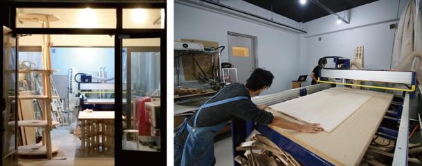 カマタ_ブリッヂ / 工房部分(左)、ShopBotで作ったテーブル(右、デザイン・製作:松田和久)