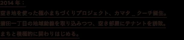2014年: 空き地を使った極小まちづくりプロジェクト、カマタ_クーチ誕生。 蒲田一丁目の地域動線を取り込みつつ、空き部屋にテナントを誘致。 まちと積極的に関わりはじめる。