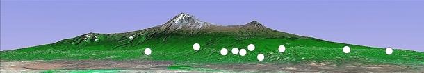 今回植林が取り組まれた場所(○印)。キリマンジャロ山の南山麓~東山麓を8ブロックに分け、10カ所で実施しました。