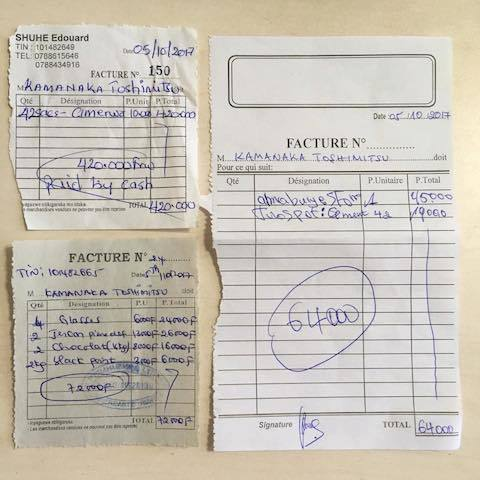 ルワンダの地域の商店で使われるレシート