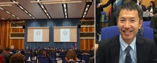 左:会議の様子 右:JCBL代表の清水