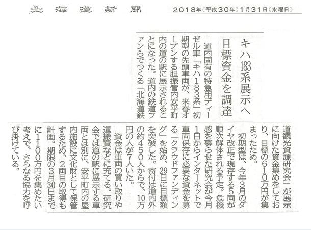 北海道新聞 2018年1月31日