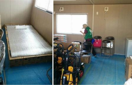 ボランティアセンター内の資材倉庫に救護室を設置
