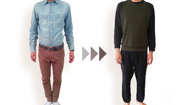 シャツを着た男性とジャージを着た男性 画像