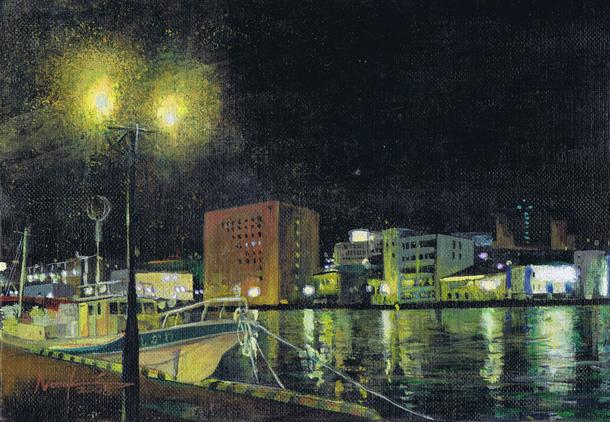 釧路の夜2008 アクリル画