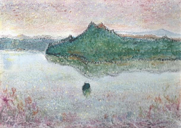 夜の摩周湖 クレヨン画