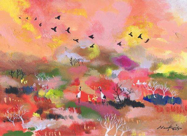 鶴の親子と釧路湿原