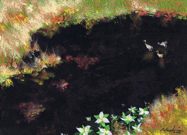 湿原の5月 アクリル画 松本直樹