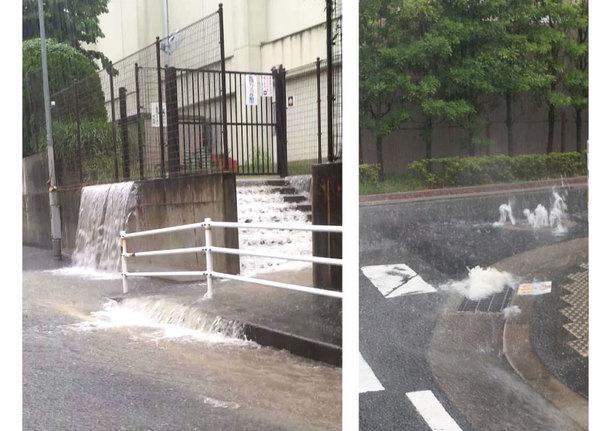 学校からも多くの水があふれる