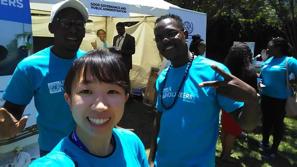 UN Volunteerで一緒に活動した時。右がSaymore