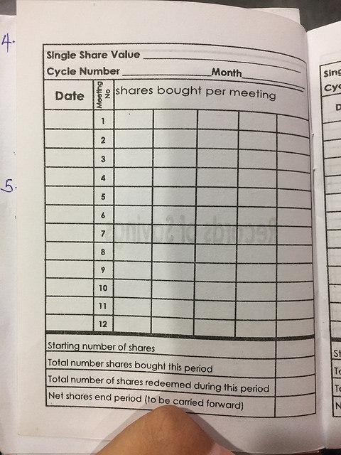 貯蓄を記録するノート(中のページ)