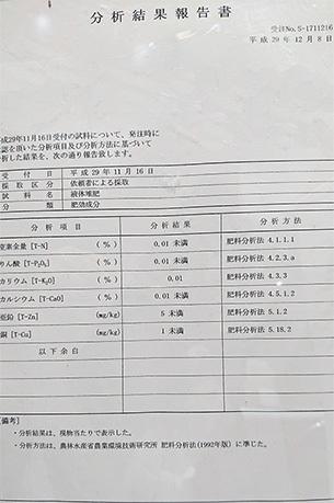 液肥の分析結果の画像