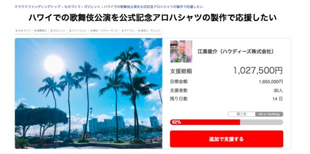 ホノルル歌舞伎のクラウドファンディング