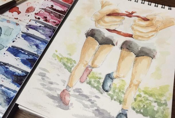 イラスト「盲人ランナーと伴走者」