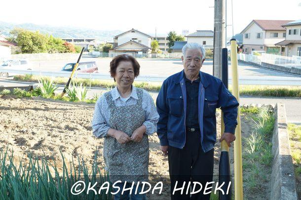 自身の農地に立つKさん夫妻。後ろに見えるのがパチンコ屋の駐車場で、将来のリニア駅の予定地