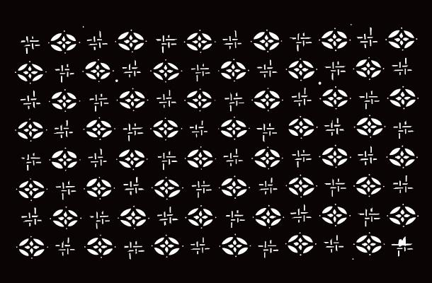 喜多方の染型紙「会津型」07984 中形 地紋割付 七宝と井桁絣