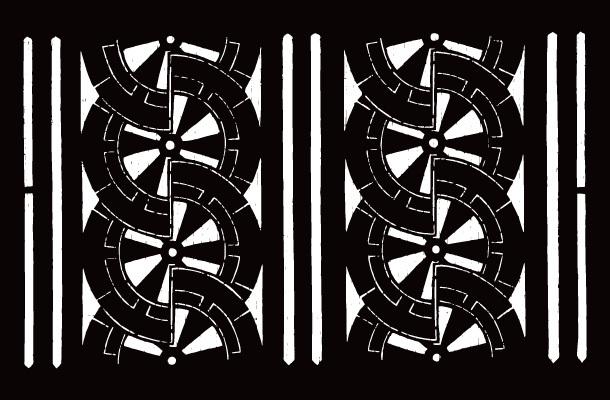 喜多方の染型紙「会津型」08127 中形 中形地紋 御所車