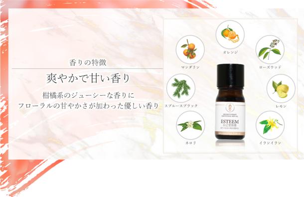 チェリッシュ(自己有用感)は明るい花束のような香りが特徴だ。 フローラル系とウッド系が合わさった、使いやすいバランスの良い香りを発してくれる。