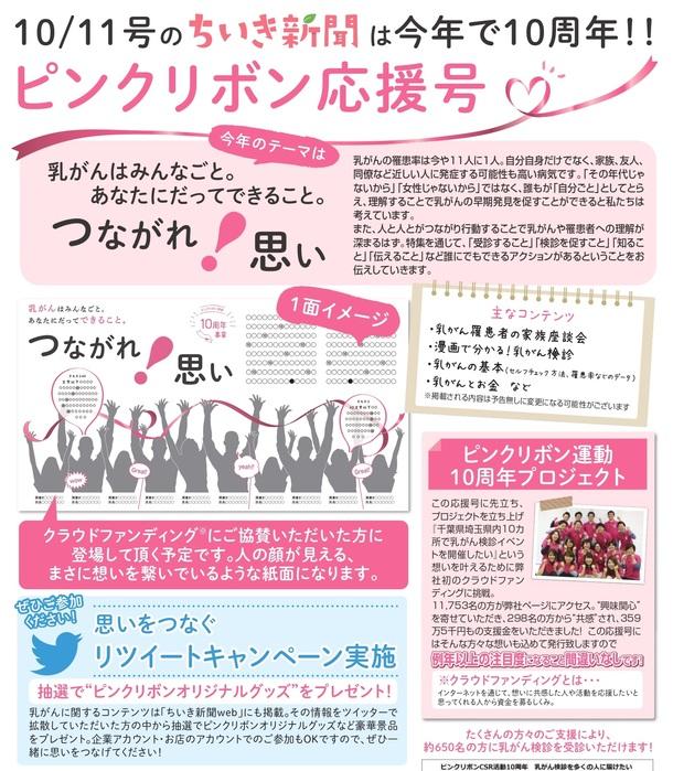 ちいき新聞のピンクリボン運動応援号のイメージ
