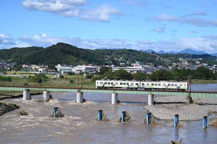 台風19号によって流されてしまった「佐野橋」の橋桁