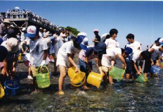 海づくり大会イベントでの放流風景