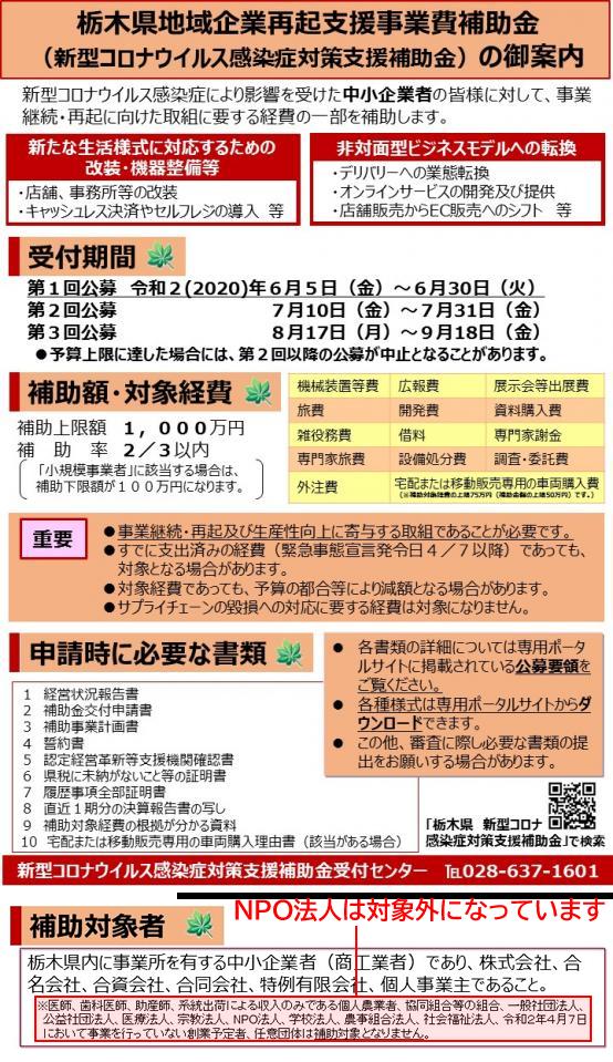 栃木県地域企業再起支援事業費補助金(新型コロナウイルス感染症対策支援補助金)