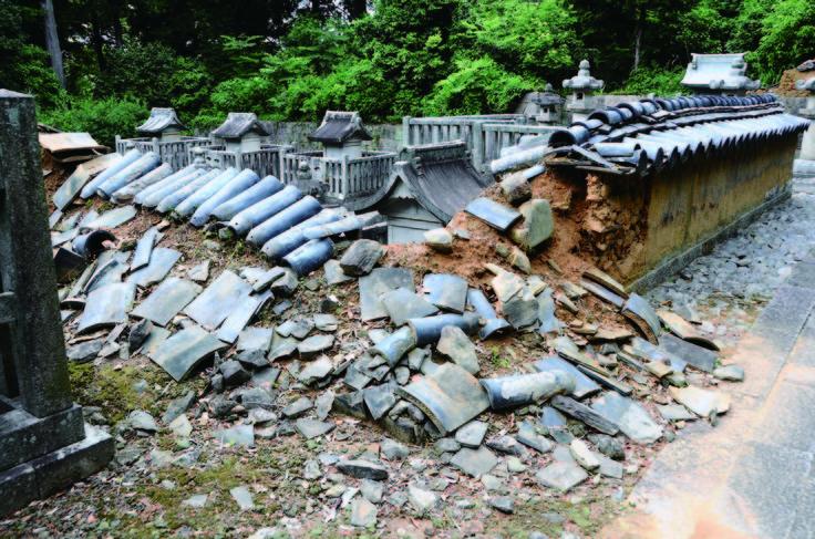 写真:スポットの例 三河地震の痕跡(幸田町:本光寺の土塀)