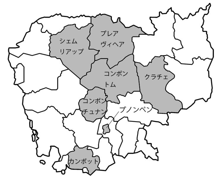 これまで訪問したエリア(カンボジアの地図)