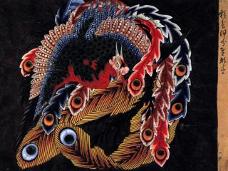 インレイ(貝象嵌細工)で北斎「八方睨み鳳凰図」を表現したい!
