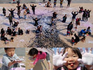 足跡が花びらになる!大きな桜の絵を描いて日本全国を繋ぎたい!