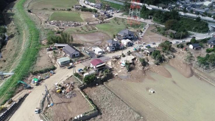 台風被害の復旧へ。大型ドローンで被害状況の調査を進めます。