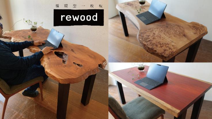 循環型一枚板rewoodを使ったワークデスクを商品化したい!