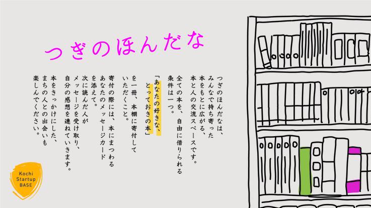 """持ち寄った本から交流が生まれる""""まちの図書館""""を、高知に創りたい!"""