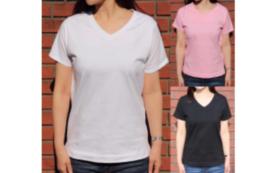 「E-Time」ウィメンズサイズVネックTシャツ Readyfor特別価格