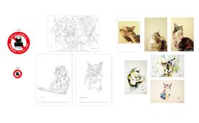 猫絵画セット