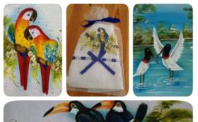 【感謝】ブラジルの鳥絵柄タオル