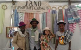 JANO エチオピア産コットン100%ストール & エチオピア産 コーヒー200g&Thanks letter