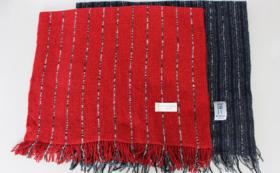 【先着30名様限定】「Owarishima」ストール赤 ストライプ+紺/グレー×2枚組セット