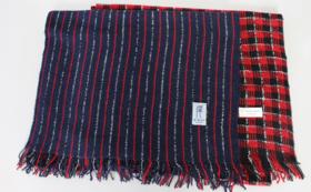 【先着30名様限定】「Owarishima」ストール紺/赤 ストライプ+赤/黒 格子×2枚組セット