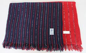 【先着30様限定】「Owarishima」ストール紺/赤 ストライプ+赤 ストライプ×2枚組セット