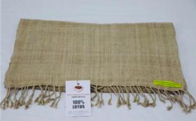 【特産品で応援】ミャンマーでもインレー湖でしか織られていない貴重な蓮糸で編んだストール付き