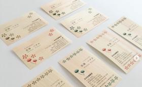 3種類の樹種(ヒノキ、杉、桜などを予定)を使った、木の名刺150枚セット(3種類×50枚)