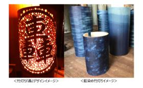 【 藍染め竹灯り(竹灯篭)『轟』】