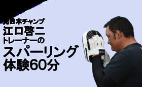 元日本チャンプ江口啓二トレーナーとのスパーリング体験(60分)+成田応援webページに氏名掲載&メルマガ登録