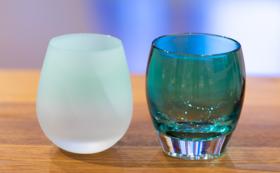 富山ガラス工房 越碧・越翡翠ロックグラス 2個セット