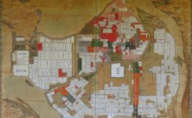 松林桂月筆『春宵花影』と萩の古地図(印刷)