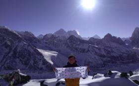 【アマダブラム登頂へ1000m前進】登頂時フラッグにロゴ、名前の記載(特大)