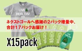 初出しゴーヤスムージー冷凍パック×15袋とオリジナルキーホルダー、 Tシャツパック【ネクストゴール増量中】