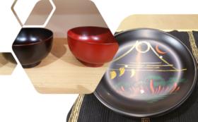 ●浄法寺塗オリジナル椀椿柄&●浄法寺塗オリジナル平皿椿柄