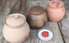 GUMBO CERAMICS寺園証太さん作備前蓋付小壺とこだわりの梅干しコース